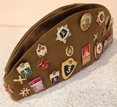 Russian Soviet Garrison 55 Cap With What Appear To Be Modern Badges/Patches