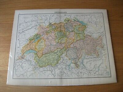 Antique Map c1898 Bartholomew & Co Edinburgh Switzerland