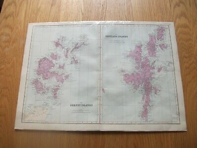 Antique Map c1890 Bacon's Geographical Establishment Orkney & Shetland Islands