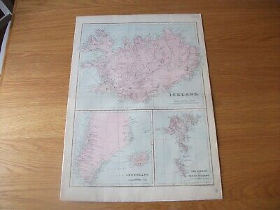 Antique Map c1890 Bacon's Geographical Establishment Iceland Greenland The Faroe