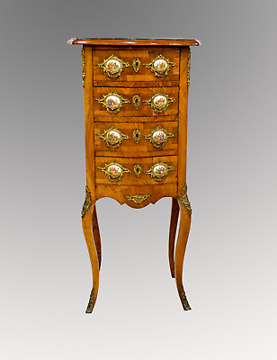 A Beautiful French Walnut Dour Draw Chest / Side Cabinet With Porcelain Plaques