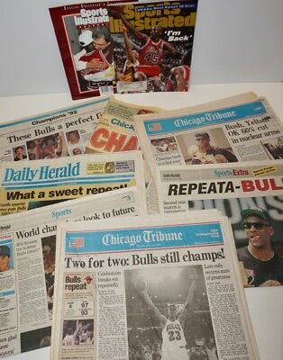 1992 CHICAGO BULLS 2nd NBA Championship NEWSPAPERS~Tribune & Various Sports