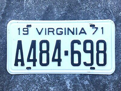 1971 Virginia License Plate #A484-698  1/2 price shipping on the 2nd, 3rd & 4th