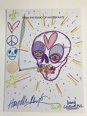 Hayden Kays - ORIGINAL DRAWING - skull DEAD - SIGNED - ART - banksy is fan