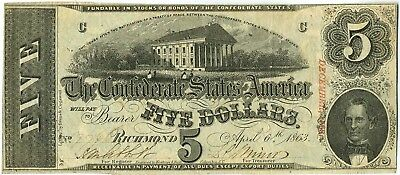 T-60 1863 $5 Richmond Confederate States of America Currency