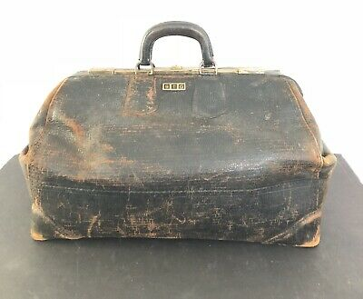 Awesome Large Vintage Statler Bag Doctor's Bag Genuine Cowhide Leather Brass