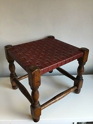 Vintage Oak Wood Stool Leather Woven Strap Seat Arts & Crafts Chair Antique