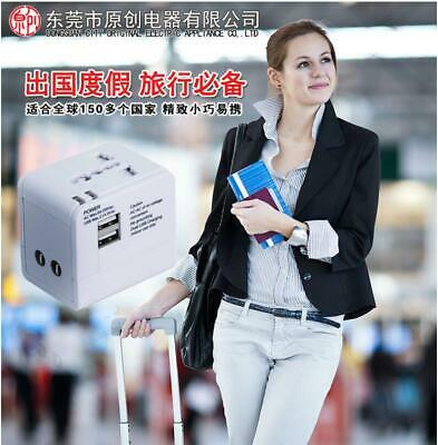 Universal Travel Adapter Converter Wall Charger 2 USB AC Power Plug US UK AU EU