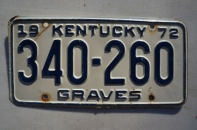 1972 Graves County Kentucky License Plate