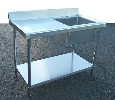 Sink Commercial Catering Kitchen Stainless Steel 120cm Left Hand Drainer 3.95ft