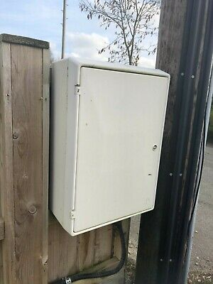 Electricity meter box, for external fitting, with fuse board included and key