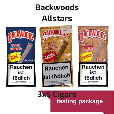 3x5 of fresh Vanilla, Caribe and Authentic Backwoods nature cigars Blunt Wrap