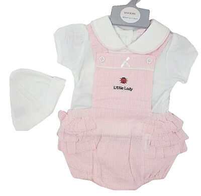 """SPANISH STYLE BABY GIRL """"LITTLE LADY"""" GINGHAM FRILL DUNGAREE SET - NB-6m"""