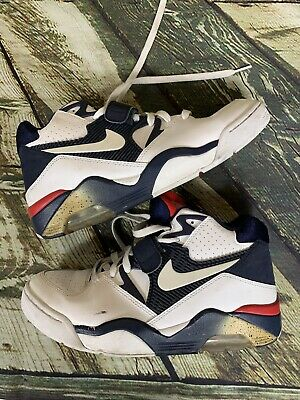 NIKE AIR FORCE 180 Olympic Charles Barkley 310095 100 White Midnight Navy 8