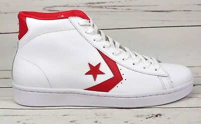 89b704ddd28c33 Converse Pro Leather 76 Mid Mens Size 11 White Casino Red 157426C Shoes New