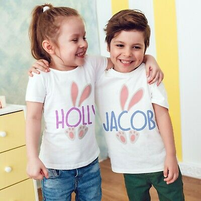 Personalised Name Easter Bunny T Shirts Children's Kids Boys Girls Top Eggs 543