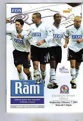 DERBY COUNTY  V  BLACKBURN ROVERS 7/2/2001 FA CUP 4th round replay PROGRAMME