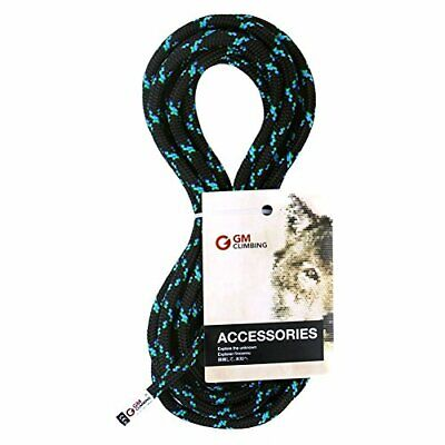 8mm Accessory Utility Cord Rope 19kN Double Braid Pre Cut CE/UIAA (Black, 50ft