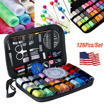 126 Pcs Home Sewing Kits Scissors Needle Thread Stitching Hand Measure Tool Set