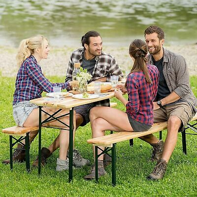 3 Pcs Wooden Folding Picnic Beer Table Bench Set Trestle Patio Outdoor Garden UK
