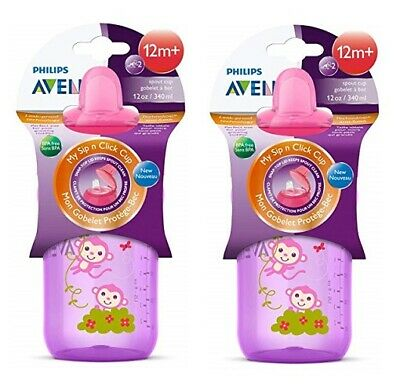 Philips Avent BPA Free My Sip n Click Cup Leak Proof Spout Cup 12m+ 12 Oz (2 Pk)