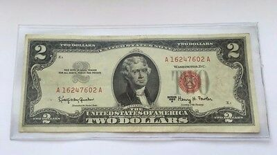 1963 A $2 United States Note Two Dollar Bill With Red Seal Free Shipping