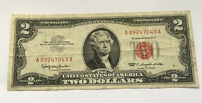 1963 $2 United States Note Two Dollar Bill With Red Seal Free Shipping