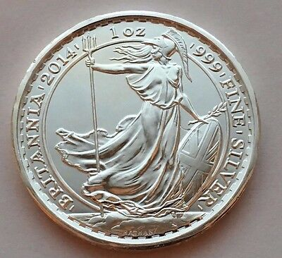 2014 Great Britain Britannia 2 Pounds 1 Oz Silver Coin W/year Of The Horse Mark