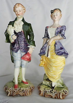 Antique POTTERY Georgian style LADY & GENT figures c1900 signed T mark