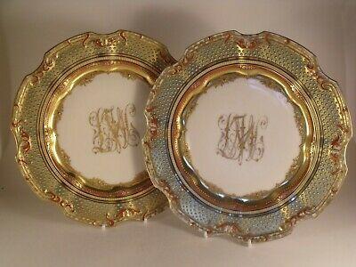 2)A  Superb Quality Pair of Dresden Porcelain Jewelled and Gilded Plates - c1900
