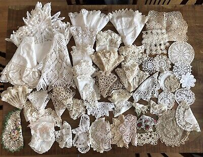 HUGE LOT! 52 ANTIQUE Vintage CROCHET LACE DOILIES Runners WEDDING Battenberg
