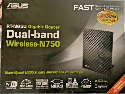 Brand New ASUS RT-N65U Dual Band Wireless-N750 Gigabit Router 2 x USB 3.0 4 Port