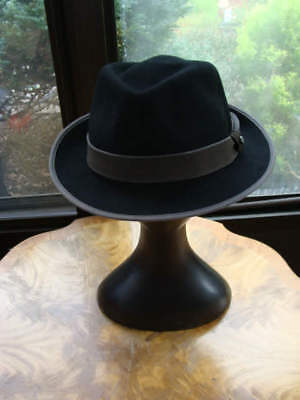 Stetson Men s Wareham Black 100%Wool Felt Fedora Hat Size L Large 6d78edc4e657