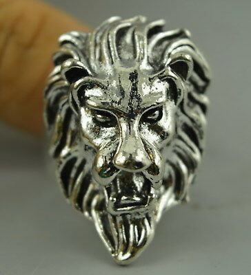 Fine Decor China Tibet Silver Carve Fierce Lion Head Rare Leader Ring