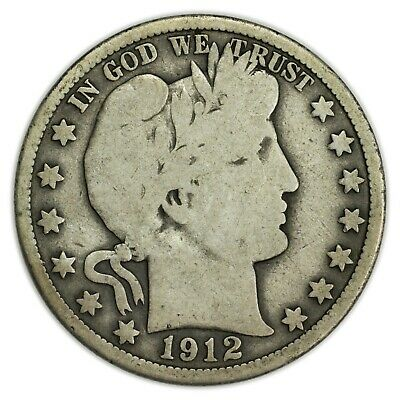 1912-S Barber Half Dollar, Large, Early Type, Silver Coin [4086.12]