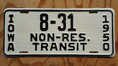 "1950 Iowa NON RESIDENT ""Waffle Type"" License Plate # 8 - 31  -  HIGH Quality"