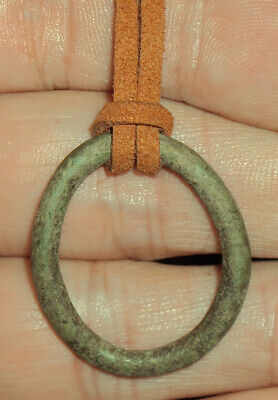Ancient Celtic 5th-1st Century BC Bronze Money Ring on Modern Suede Necklace