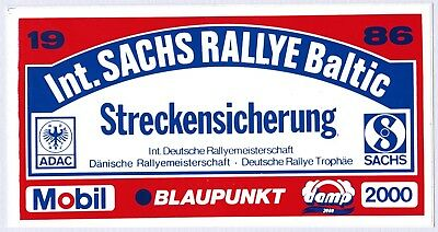 Sticker Aufkleber Int. Sachs Rallye Baltic 1986 | 11,8 x 6,2 cm | neu,original