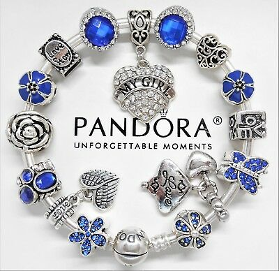 Authentic Pandora Silver Charm Bracelet With My Girl Love Story European Charms~