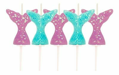 5 X Mermaid Tail Glitter Cake Candle Picks Birthday Party Cake Decoration Shine