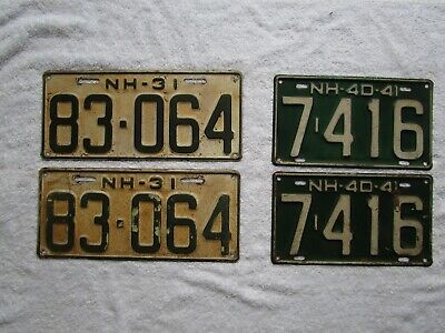 Vintage New Hampshire License Plates ~ matching pairs 1931 & 1940 - 1941
