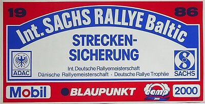 Sticker Aufkleber Int. Sachs Rallye Baltic 1986 | 45 x 23 cm | neu, original
