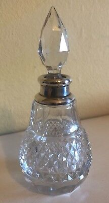 Antique Silver  And Cut Glass Perfume Bottle