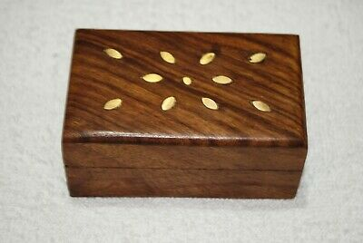 Vintage Carved Small Handmade Wooden Jewelry Box With Copper Lock & Velvet Cloth