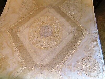 Antique Lace Bedspread Handmade Panel Bed Cover Tablecloth Curtain Cream Ecru
