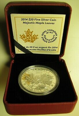 2014 Proof $20 Overlaid Majestic Maple Leaves #1 Canada .9999 silver twenty