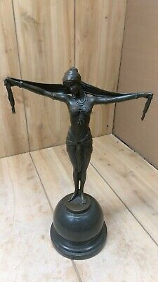 Art Deco Style Signed D. H. Chiparus Bronze Statue Sculpture Dancer Gypsy Scarf