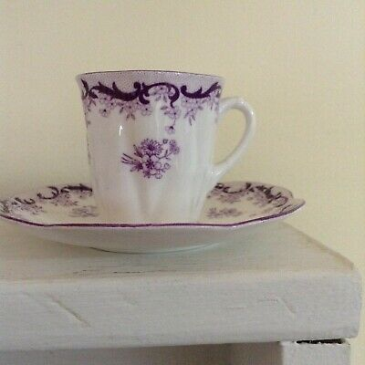 Vintage Shelley Demitasse cup and saucer set, purple daisy