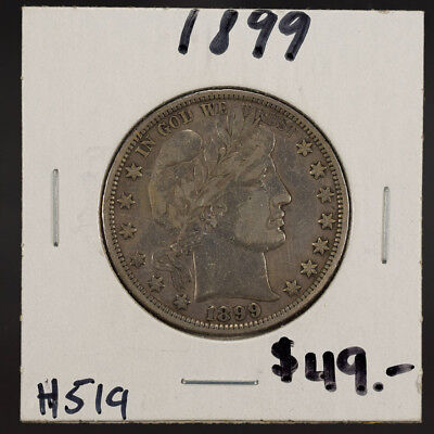 1899 50c SILVER BARBER HALF DOLLAR LOT#H519