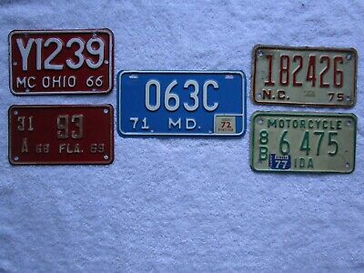 Lot of (5) VINTAGE MOTORCYCLE LICENSE PLATES 1960's & 1970's ~ MD OH FL ID NC